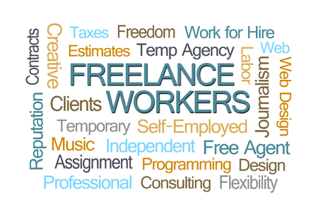 freelance: Freelance Workers Word Cloud on White Background