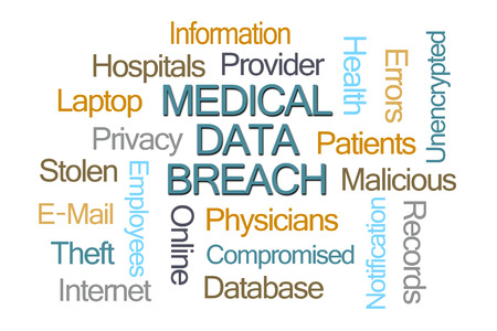 digitized: Medical Data Breach Word Cloud on White background Stock Photo