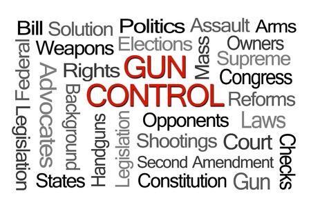 shootings: Gun Control Laws Word Cloud on White Background