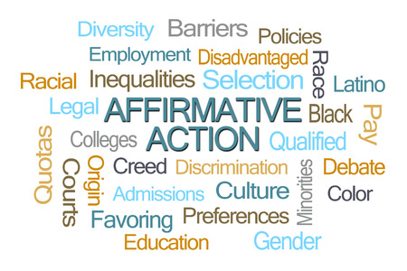 disadvantaged: Affirmative Action Word Cloud on White Background