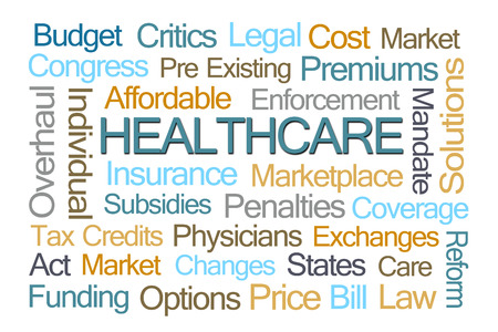 mandate: Healthcare Word Cloud on White Background Stock Photo