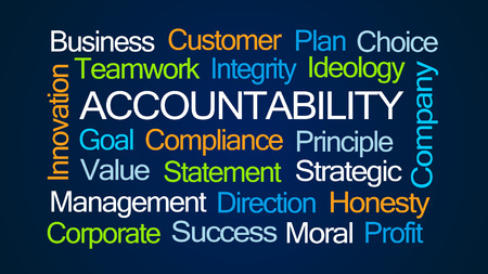 beliefs: Accountability Word Cloud on Dark Blue Background Stock Photo