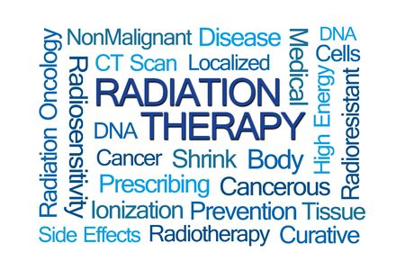 gamma radiation: Radiation Therapy Word Cloud on Light Brown Background