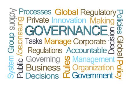 gobierno corporativo: Gobernabilidad nube de la palabra en el fondo blanco Foto de archivo