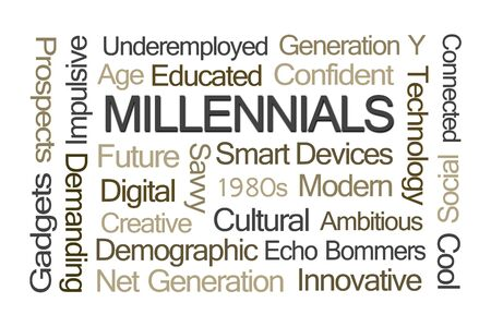 generation y: Millennials Word Cloud on White Background Stock Photo