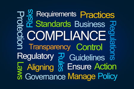 comply: Compliance Word Cloud on Blue Background Stock Photo