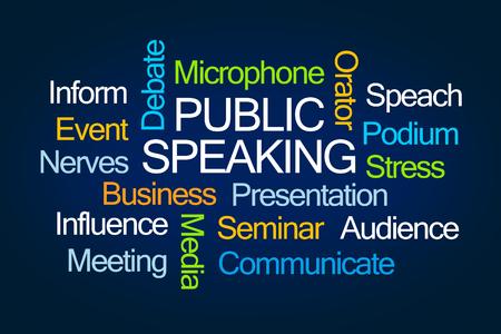 Hablando pública nube de la palabra sobre fondo azul