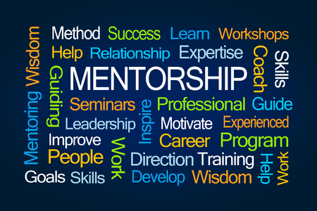 word: Mentorship Word Cloud on Blue Background