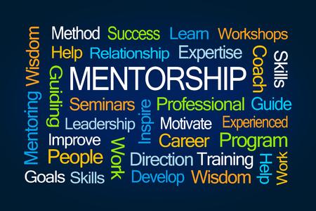 wort: Mentorship-Wort-Wolke auf blauem Hintergrund Lizenzfreie Bilder