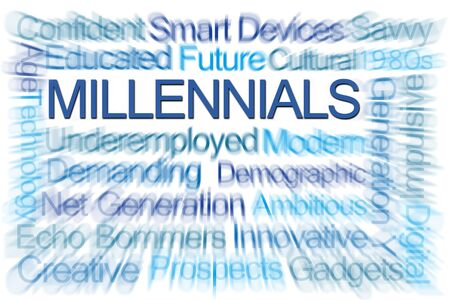 savvy: Millennials Word Cloud on White Background Stock Photo