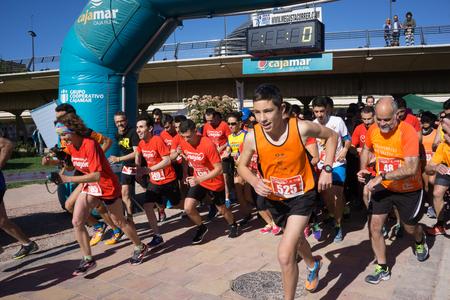 corazon: VALENCIA, SPAIN - APRIL 24, 2016: Runners begin running in the Correr Por El Corazon run (Run for the Heart) in Valencia, Spain. Editorial