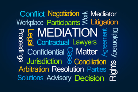 Mediation Word Cloud on Blue Background Stock Photo