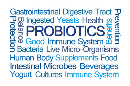 Probiotics Word Cloud on White Background