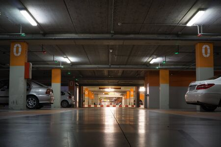 parking garage: VALENCIA, SPAIN - MAY 21, 2016: Inside the parking garage at the Valencia airport. Situated 8 km from the city it is the 8th busiest Spanish airport with flight connections to 15 European countries.
