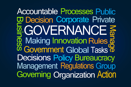 government regulations: Governance Word Cloud on Blue Background