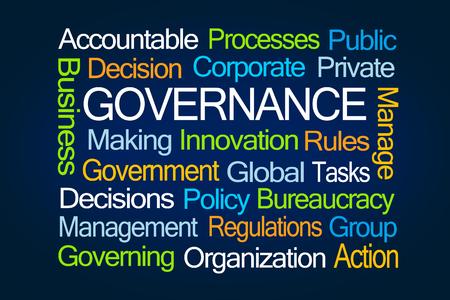 governing: Governance Word Cloud on Blue Background