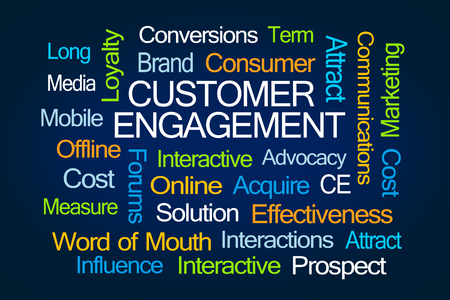 interactions: Customer Engagement Word Cloud on Blue Background