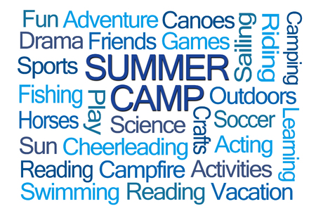 overnight: Summer Camp Word Cloud on White Background