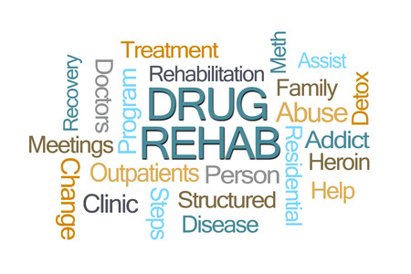 Drug Rehab Word Cloud on White Background Stock Photo