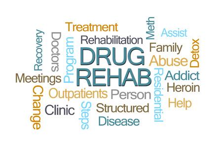 Drug Rehab Word Cloud op een witte achtergrond Stockfoto