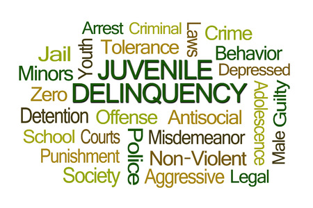 delincuencia: Juvenile Delinquency Word Cloud on White Background