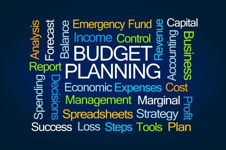 marginal: Budget Planning Word Cloud on Blue Background