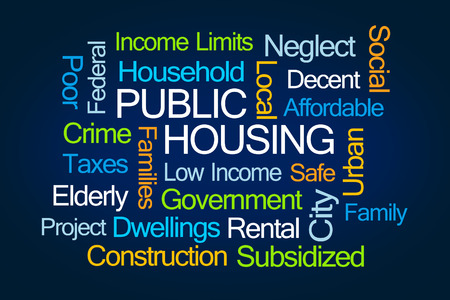 Public Housing Word Cloud on White Background
