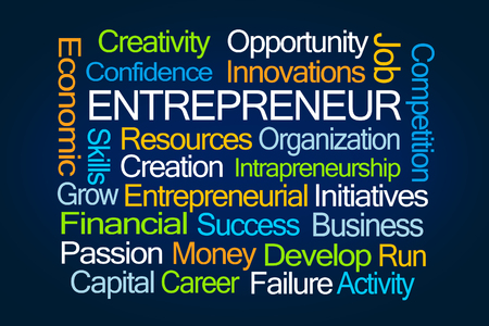 initiatives: Entrepreneur Word Cloud on Blue Background Stock Photo