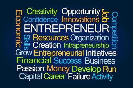 Entrepreneur Word Cloud on Blue Background Imagens