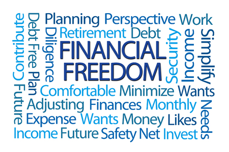 word: Financial Freedom Word Cloud on White Background