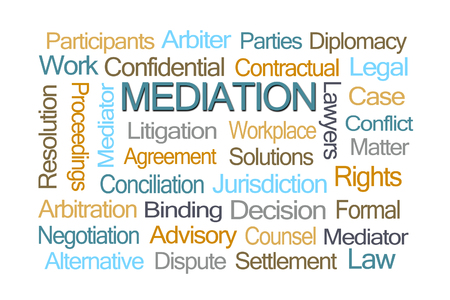 contractual: Mediation Word Cloud on White Background
