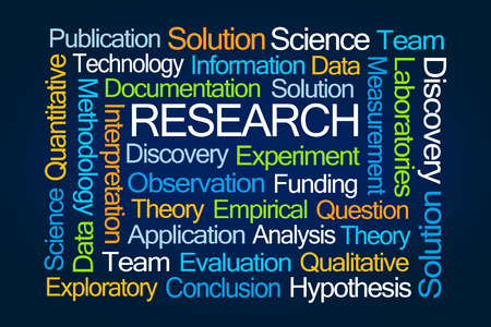 empirical: Research Word Cloud on Blue Background