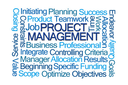 initiating: Project Management Word Cloud on White Background