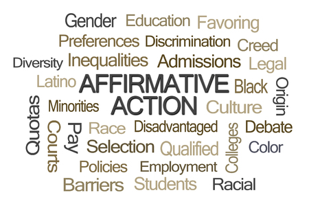 quota: Affirmative Action Word Cloud on White Background