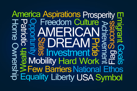 ethos: American Dream Word Cloud on Blue Background Stock Photo