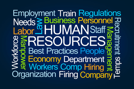 comp: Human Resources Word Cloud on Blue Background