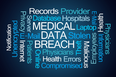 inappropriate: Medical Data Breach word cloud on blue background Stock Photo