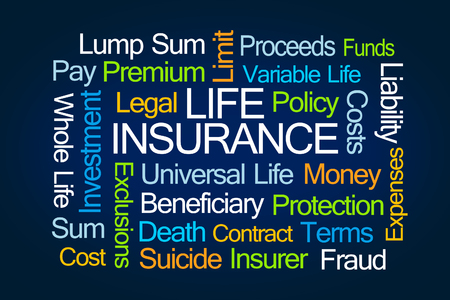 insurer: Life Insurance Word Cloud on Blue Background