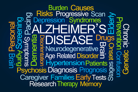brain aging: Alzheimers Disease Word Cloud on White Background Stock Photo