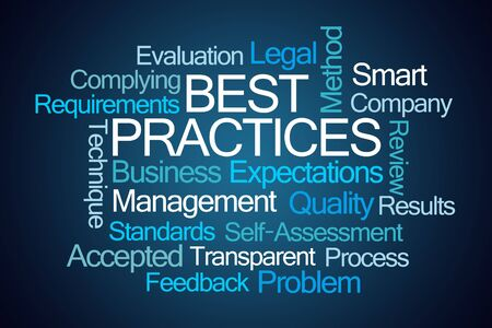 best practices: Best Practices Word Cloud on Blue Background