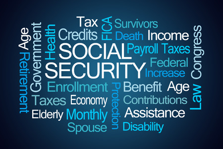 contributions: Social Security Word Cloud on Blue Background