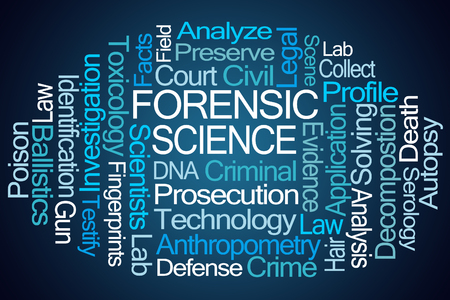 testify: Forensic Science Word Cloud on Blue Background