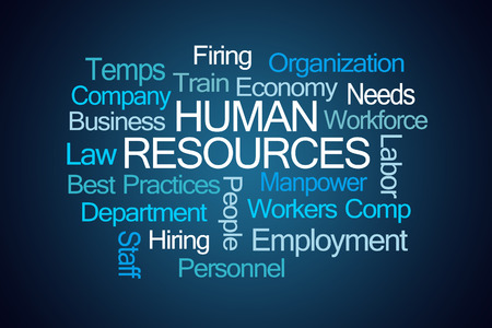 Human Resources Word Cloud on Blue Background