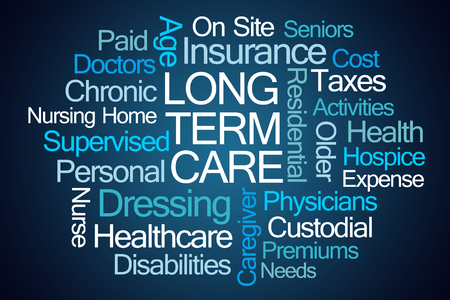 term: Long Term Care Word Cloud on Blue Background