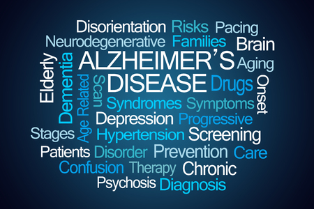 causes: Alzheimers Disease Word Cloud on Blue Background