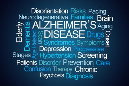 aging brain: Alzheimers Disease Word Cloud on Blue Background