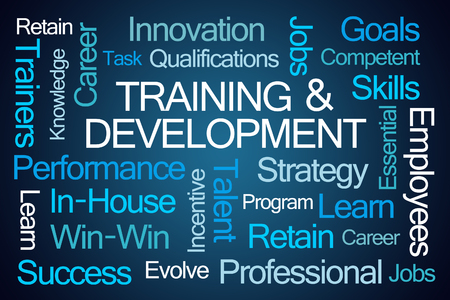 facilitator: Training and Development Word Cloud on Blue Background Stock Photo