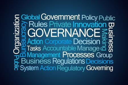 gobierno corporativo: Gobernabilidad nube de la palabra sobre fondo azul