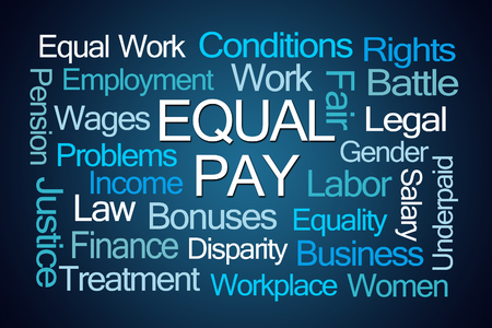 underpaid: Equal Pay Word Cloud on Blue Background