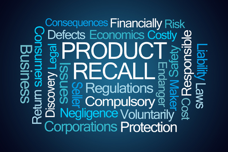 financially: Product Recall Word Cloud on Blue Background